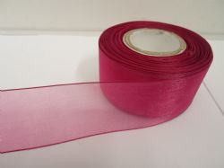 Magenta dark Pink Sheer organza ribbon, 2, 10 or 25 metre roll, Double sided 3mm 9mm 15mm 25mm 40mm